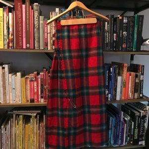 Long red plaid wool skirt from Scotland